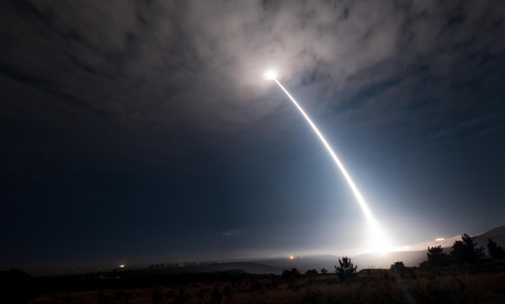 An unarmed Minuteman III intercontinental ballistic missile launches during an operational test at Vandenberg Air Force Base, Calif. on Aug. 2, 2017.