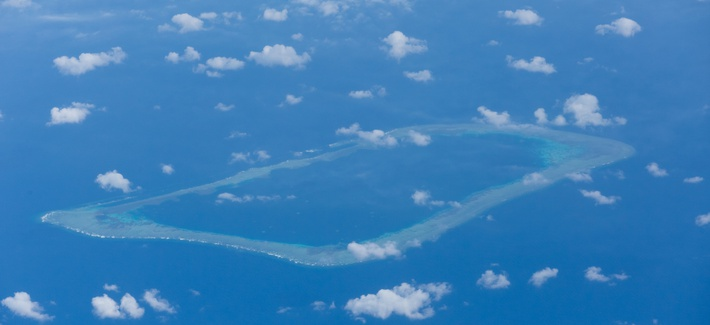 Aerial view of the The Spratly Islands, one of the major archipelagos in the South China Sea