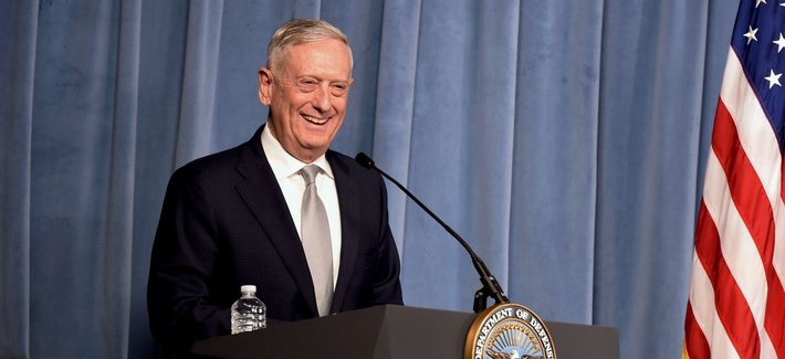 Former Defense Secretary Jim Mattis speaks at the Pentagon in November 2018.