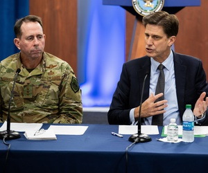 Dana Deasy, DOD Chief Information Officer, and Air Force Lt. Gen. John Shanahan host a roundtable discussion on the enterprise cloud initiative with reporters, Aug. 9, 2019, at the Pentagon, Washington, D.C.