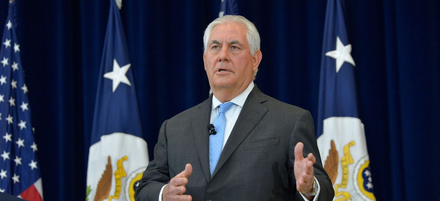 U.S. Secretary of State Rex Tillerson hosts a Town Hall meeting for Department of State employees in Washington, D.C, on December 12, 2017.