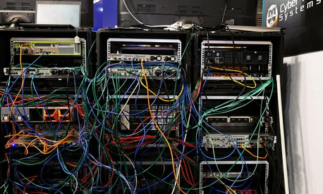 Servers and computers are deployed at the Cybersecurity Conference in Lille, northern France, Wednesday Jan. 25, 2017.