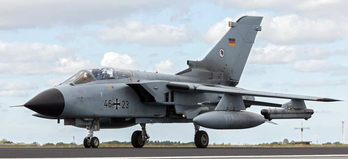 German Air Force Tornado from AG-51 taxiing at the 2014 NATO Tiger Meet at Schleswig-Jagel airbase.