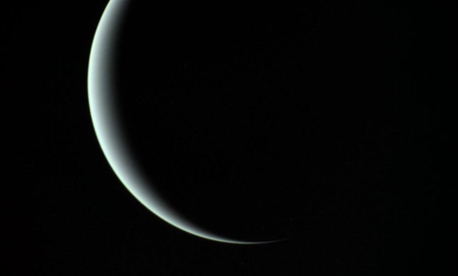Uranus as seen by Voyager 2 on its way deeper into space