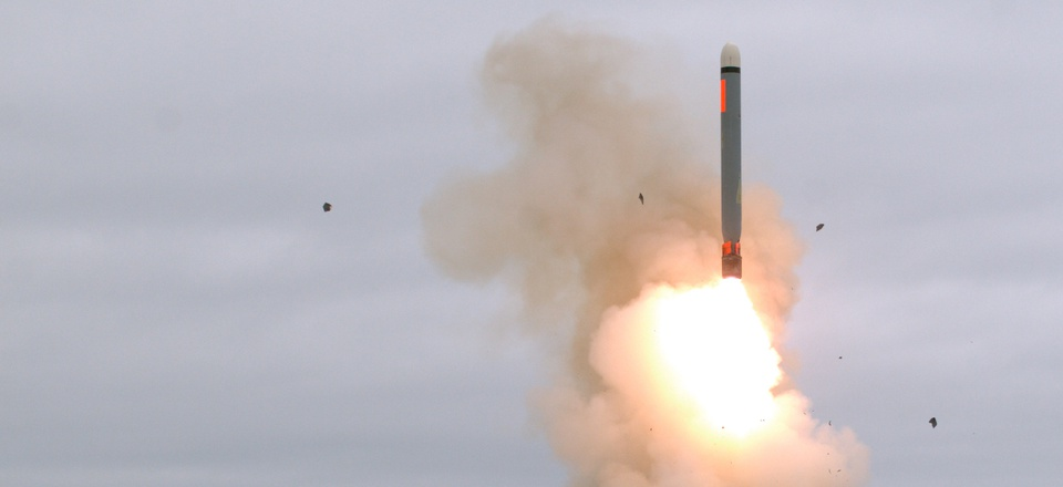 A ground-launched cruise missile lifts off for a test flight at 2:30 p.m. on Aug. 18, at San Nicolas Island, Calif., a U.S. Navy test facility.