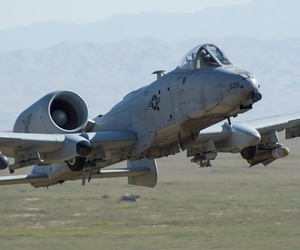 An A-10 Thunderbolt II, from the 190th Fighter Squadron trains with targets, Orchard Combat Training Center, Boise, Idaho Aug. 19, 2019.
