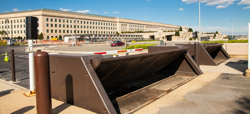 Roadblocks in the Pentagon parking lot.