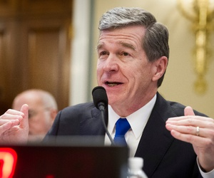 North Carolina Gov. Roy Cooper testifies in Washington in February.