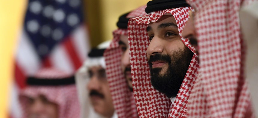 Saudi Arabia's Crown Prince Mohammed bin Salman listens during his meeting with President Donald Trump during a working breakfast on the sidelines of the G-20 summit in Osaka, Japan, in Osaka, Japan, Saturday, June 29, 2019.