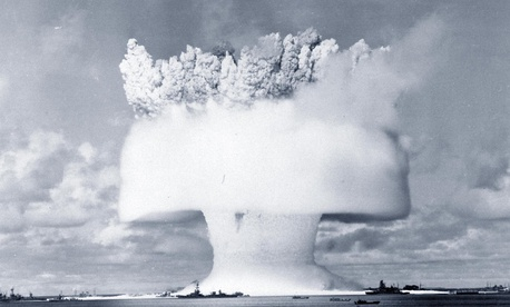 "Operation Crossroads, ""Baker Day"" Underwater Atomic Bomb Test, Bikini Atoll, July 25, 1946. Frame 2 of a series of ground level views, taken about one-and-a-half seconds after detonation."