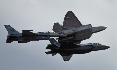 F-16 Viper, F-35 Lighting II and F-22 Raptor fly in formation during the Heritage Flight Course at Davis-Monthan Air Force Base, Ariz., March 2, 2019.