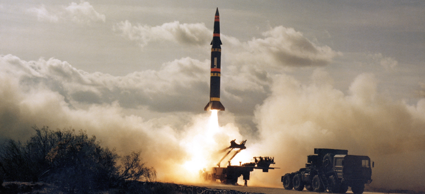 A Pershing missile lifts off a New Mexico test range in 1982.