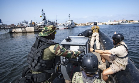 Senegalese, Portuguese, Spanish, and U.S. service members conduct small boat exercises in Dakar, Senegal, in the Gulf of Guinea in support of 2019 Africa Partnership Station on July 9, 2019.