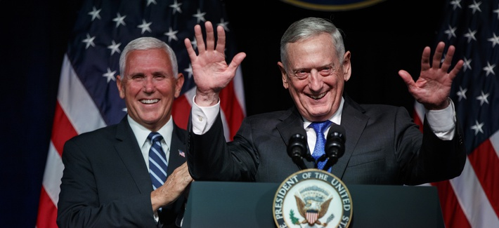 In this file photo, former Secretary of Defense Jim Mattis introduces Vice President Mike Pence during a Pentagon event on the creation of a U.S. Space Force, Thursday, Aug. 9, 2018.