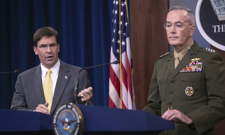 Secretary of Defense Mark Esper and Joint Chiefs Chairman Gen. Joseph Dunford speak to reporters during a briefing at the Pentagon, Wednesday, Aug. 28, 2019.