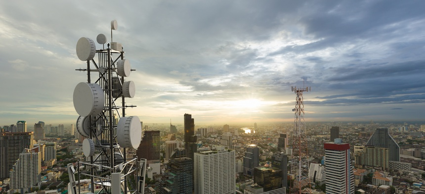 Telecommunication tower with 5G cellular network antenna