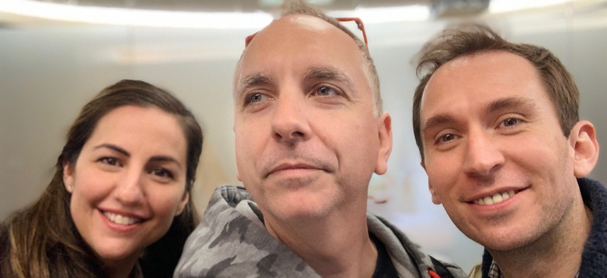 From left to right, Nicole Camarillo, Chris Lynch, and Oliver Lewis, the co-founders of Rebellion.
