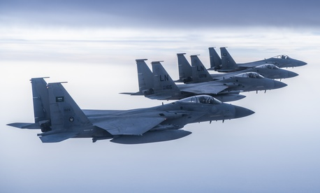 U.S.-made Royal Saudi Air Force F-15C Eagles fly in formation with U.S. Air Force F-15Cs in the U.S. Central Command area of responsibility, June 2, 2019.
