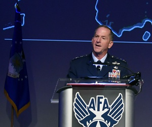 Gen. David Goldfein, the U.S. Air Force chief of staff, speaks at the Air Force Association's Air, Space, Cyber conference.