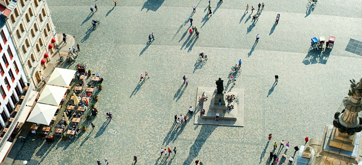 Aerial view of Neumarkt square in Dresden, Germany