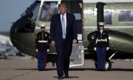 President Donald Trump walks to board Air Force One at Marine Corps Air Station Miramar, Wednesday, Sept. 18, 2019, in San Diego, Calif.