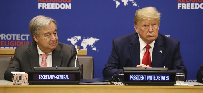 President Donald Trump listens at an event on religious freedom during the United Nations General Assembly, Monday, Sept. 23, 2019, in New York, with UN Secretary General António Guterres, left.
