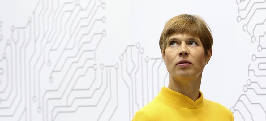 Estonian President Kersti Kaljulaid attends the World Energy Congress in Abu Dhabi, United Arab Emirates, Tuesday, Sept. 10, 2019.
