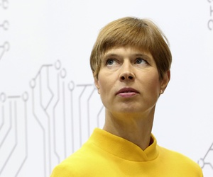Estonian President Kersti Kaljulaid attends the World Energy Congress in Abu Dhabi, United Arab Emirates, Tuesday, Sept. 10, 2019.