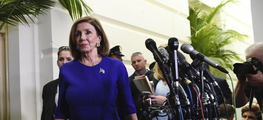 House Speaker Nancy Pelosi of Calif., arrives to read a statement announcing a formal impeachment inquiry into President Donald Trump, on Capitol Hill in Washington, Tuesday, Sept. 24, 2019.