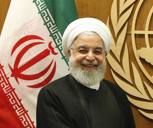 Iran's President Hassan Rouhani, left, meets with United Nations Secretary-General Antonio Guterres during the 74th session of the U.N. General Assembly, at U.N. headquarters, Wednesday, Sept. 25, 2019.