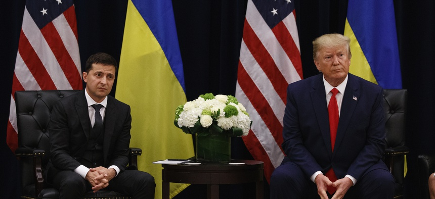 resident Donald Trump meets with Ukrainian President Volodymyr Zelenskiy at the InterContinental Barclay New York hotel during the United Nations General Assembly, Wednesday, Sept. 25, 2019, in New York.