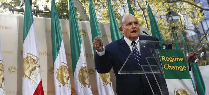 Former New York Mayor Rudy Giuliani speaks at a rally supporting a regime change in Iran outside United Nations headquarters on the first day of the general debate at the U.N. General Assembly, Tuesday, Sept. 24, 2019, in New York.