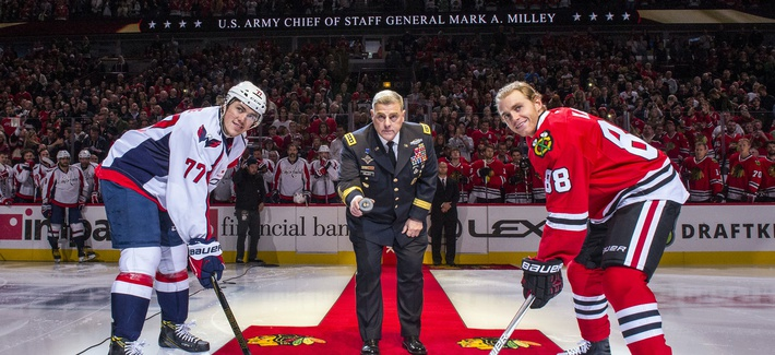 U.S. Army Chief of Staff Gen. Mark Milley drops the puck at a Chicago Blackhawks game in November 2016