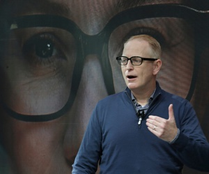 Dave Limp, senior vice president for Amazon devices & services, wears a pair of Echo Frames - eyewear enabled with the company's Alexa personal assistant technology, as he speaks Wednesday, Sept. 25, 2019, during an event in Seattle.