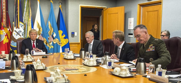 President Donald J. Trump speaks to Defense Secretary Jim Mattis and members of the National Security Council during a meeting at the Pentagon, July 20, 2017.