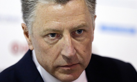 "In this Sept. 15, 2018 file photo, U.S. special representative to Ukraine Kurt Volker attends the 15th Yalta European Strategy (YES) annual meeting entitled ""The next generation of everything"" at the Mystetsky Arsenal Art Center in Kiev, Ukraine."