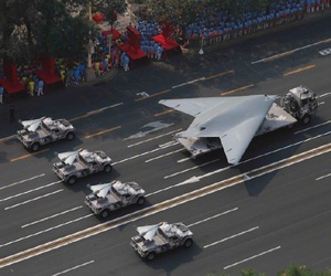 "The Chinese GJ-11 ""Sharp Sword"" stealth drone, displayed on October 1 at the China  National Day military parade."