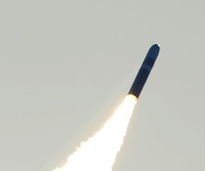 An unarmed Trident II D5 missile launches from the Ohio-class ballistic missile submarine USS Nebraska (SSBN 739) off the coast of California in a 2008 test.