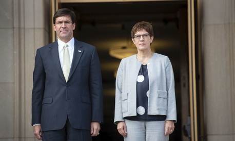 U.S. Secretary of Defense Dr. Mark T. Esper hosts German Minister of Defense Annegret Kramp-Karrenbauer for an honor cordon and bilateral meeting, at the Pentagon, Washington, D.C., Sept. 23, 2019.
