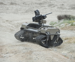 ENDLETON, Calif. (Apr. 25, 2017) A unmanned vehicle, part of the Multi-Utility Tactical Transport (MUTT) family of systems, operates on Red Beach during the Ship-to-Shore Maneuver Exploration and Experimentation (S2ME2) Advanced Naval Technology Exercise