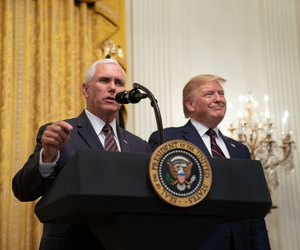 Trump and Pence attend a Hispanic Heritage Month Reception event at the White House in September.