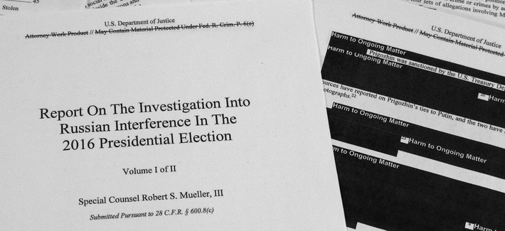 In this April 18, 2019, file photo, special counsel Robert Mueller's redacted report on Russian interference in the 2016 presidential election is photographed in Washington.