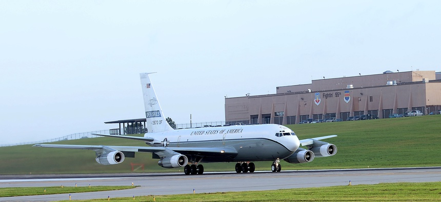 An OC-135 Open Skies aircraft takes off Sept. 14, 2018 from the flight line at Offutt Air Force Base, Nebraska. The U.S. Air Force operates two modified Boeing 707 aircraft as part of the 1992 Open Skies treaty.