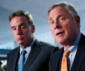 Senate Intelligence Committee Chairman Richard Burr (right) and Vice Chair Mark Warner
