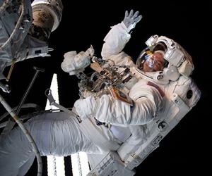 The astronaut Drew Morgan waves during a spacewalk this summer.