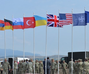 Troops gather at Vaziani Military Base, Georgia, for 2017's Exercise Noble Partner: training for the Georgian light infantry company designated for the NATO Response Force.