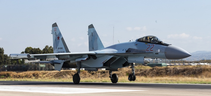 A Russian Su-35 fighter jet takes off at Hemeimeem air base in Syria, Thursday, Sept. 26, 2019.