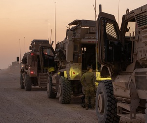 Soldiers from 3rd RCP conduct final pre-convoy checks and inspections of their vehicles before exiting their base.