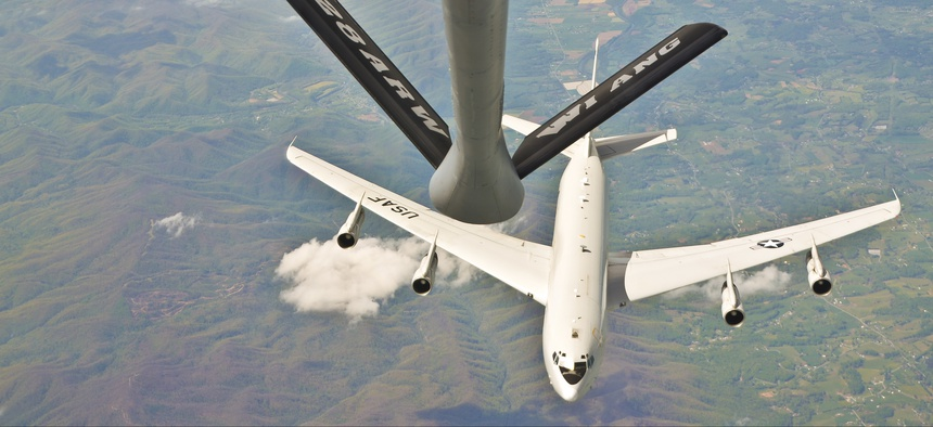 An E-8C Joint Surveillance Target Attack Radar System aircraft approaches the boom of a KC-135R Stratotanker assigned to the 128th Air Refueling Wing, Wisconsin Air National Guard, April 20, 2016.