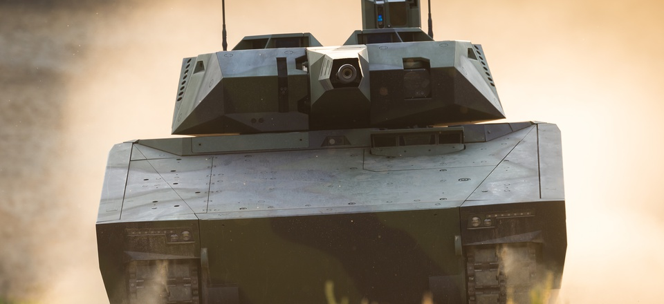A Rheinmetall Defence Lynx armored fighting vehicle.